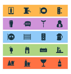 Beverages icons set with bar tavern tap and vector