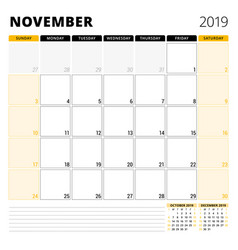 calendar planner for november 2019 stationery vector image