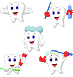 cartoon teeth collection set vector image