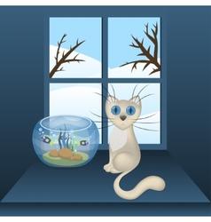 Cartoon white cat and aquarium with fishes vector image