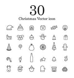 Christmas line icon set vector