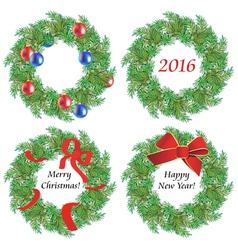 Christmas wreaths made of fir branches vector