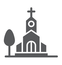 Church glyph icon religion and building chapel vector