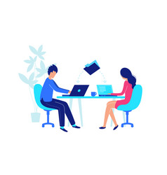 colleagues work at workplace with laptop flat vector image
