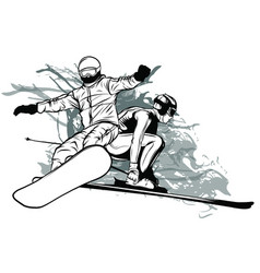 collection sport snowboard skiers vector image