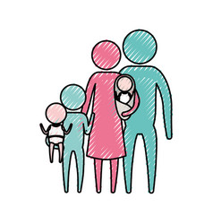 Color crayon silhouette pictogram big family group vector