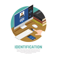 computer identity approval background vector image