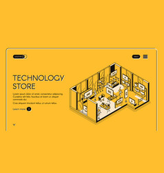 computer store isometric landing page empty mall vector image