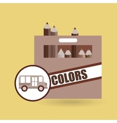 Concept bus school color box desing vector