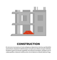 Construction of house banner unfinished concrete vector