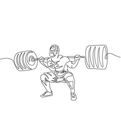 continuous one line a man performs a squat with a vector image