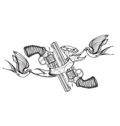 contour image of two revolvers swallows ribbon vector image