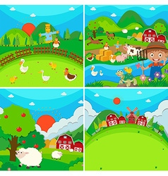 Countryside scene with farmer and animals vector