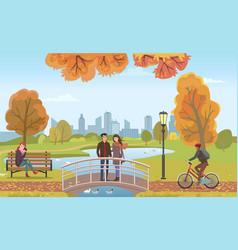 Couple people in love on bridge autumn vector