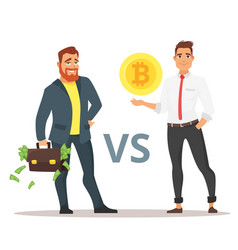 cryptocurrency versus traditional banking system vector image