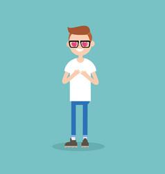 Cute cartoon nerd boy with heart-shaped eyes vector
