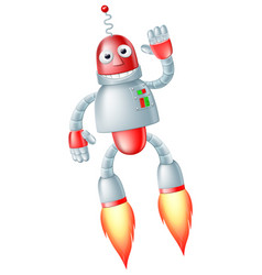 cute flying robot man vector image