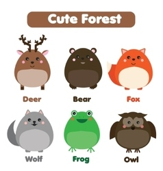 Cute forest animals wildlife set Children style vector