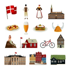 Denmark Flat Style Icons Set vector