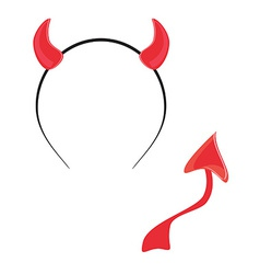 Devil tail and horn vector image
