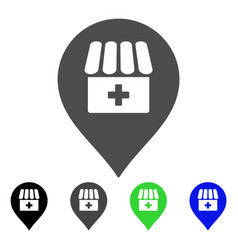 Drugstore map marker flat icon vector