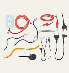 Electric problem damaged communication cable with vector