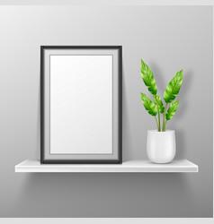 Empty photo frame stand on white shelf mockup vector