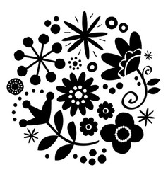floral folk art design - mandala vector image
