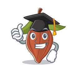 Graduation cacao bean character cartoon vector