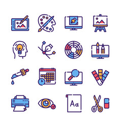 graphic design studio color linear icons set vector image