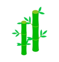 Green bamboo stem icon isometric 3d style vector