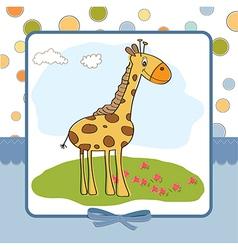 Greeting card with giraffe vector