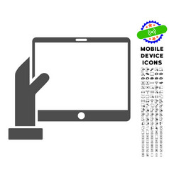 hand holds pda icon with set vector image