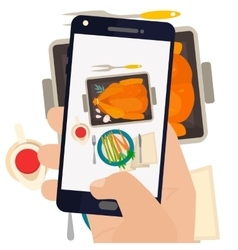 Hand making a smartphone photo dinner vector