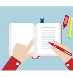 Hand Writing On Book Open vector