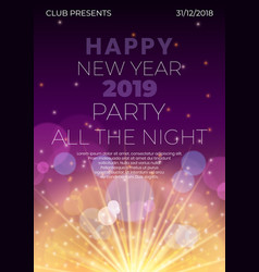 happy 2019 new year night flyer banner concept vector image