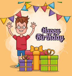 Happy birthday card with little boy vector