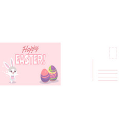 happy easter card cartoon cute bunny and vector image