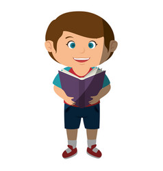 happy little boy reading character vector image