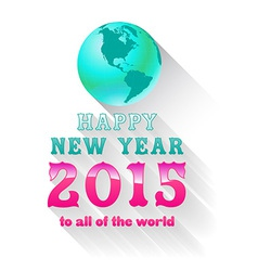happy new year 2015 with earth vector image