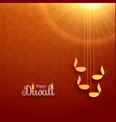 Hindu diwali festival greeting card design with vector