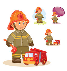 icon of small child firefighter and his vector image