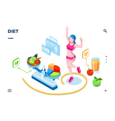 isometric screen for diet smartphone application vector image