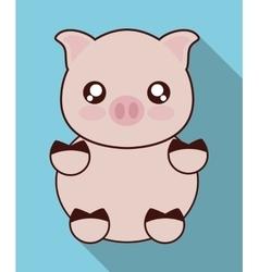 Kawaii pig icon Cute animal graphic vector