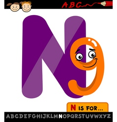 letter n with nine cartoon vector image