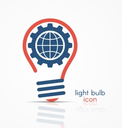Light bulb idea icon with gear and globe vector