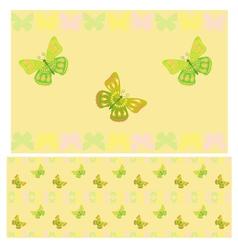 Light green butterflies seamless pattern vector
