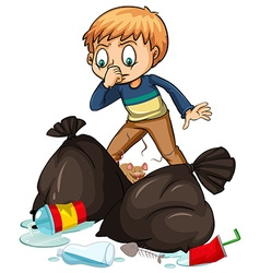 Man and smelly trashbags vector image