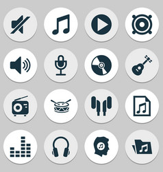 Multimedia icons set collection of tuner music vector