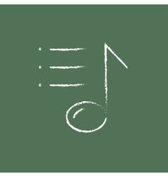 Musical note icon drawn in chalk vector